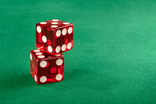 Stacked Red Dice In Gambling Table. Left Positioned So You Can Use Text On The Side