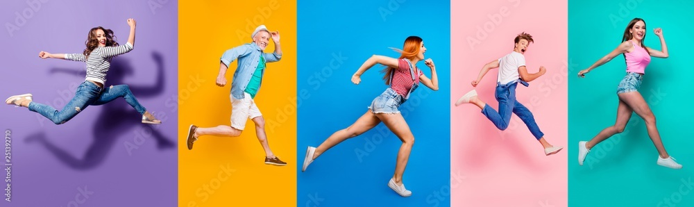 Fototapety, obrazy: Full length body size view photo portrait collage of running sporty people in striped T-shirt overalls looking in front striving progress active life isolated on bright colorful different background