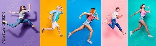 Full length body size view photo portrait collage of running sporty people in striped T-shirt overalls looking in front striving progress active life isolated on bright colorful different background - fototapety na wymiar