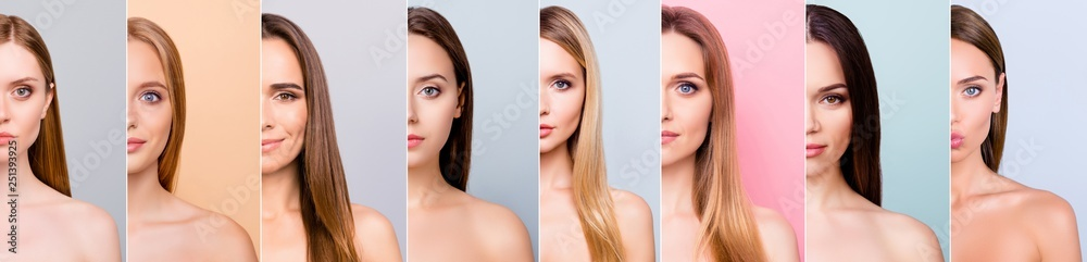 Fototapeta Beauty and health concept she her beautiful pretty eight ladies half face healthy skin hair looking straight in the camera difference concept isolated grey pink pastel blue backgrounds