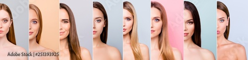 La pose en embrasure Spa Beauty and health concept she her beautiful pretty eight ladies half face healthy skin hair looking straight in the camera difference concept isolated grey pink pastel blue backgrounds