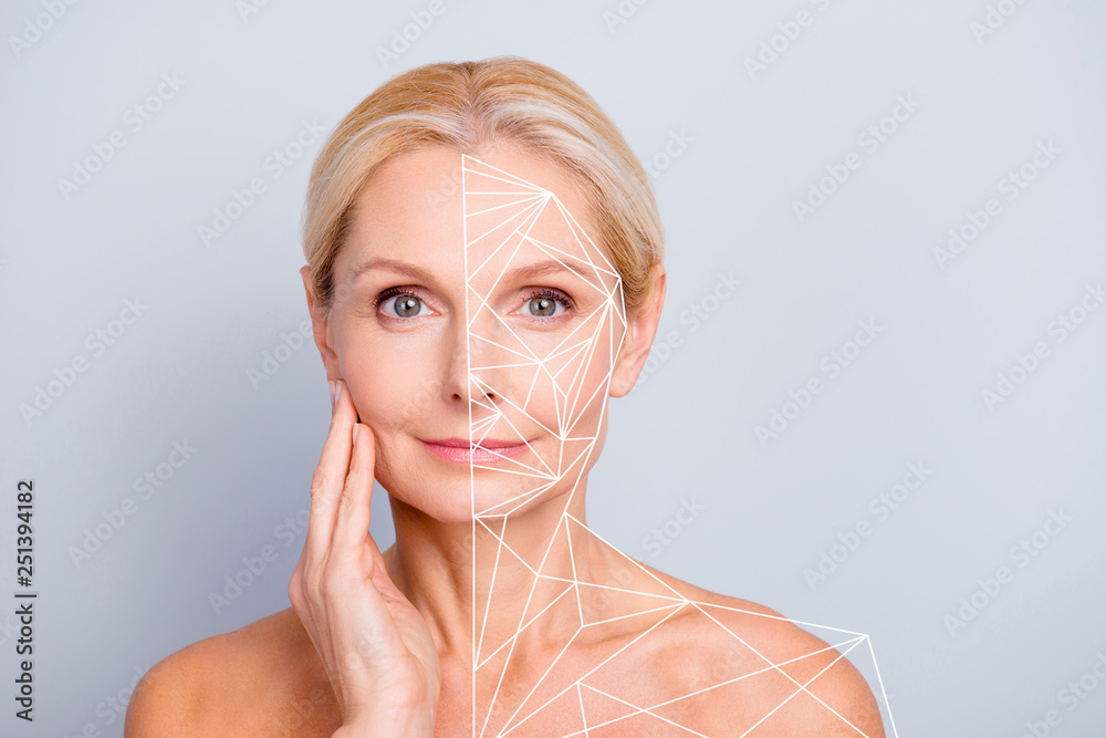 Fototapeta Portrait pretty attractive charming naked nude she her woman touching her  perfect skin after peeling lotion mask hydration highlighted facial parts lines sketch  isolated grey background