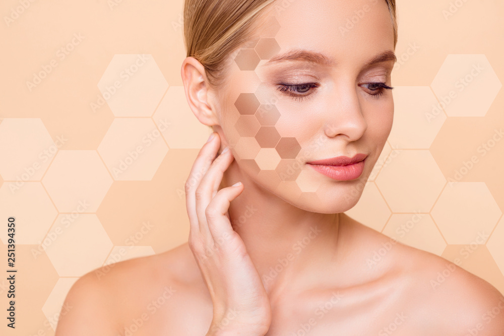 Fototapeta Close-up portrait of her she nice winsome lovely attractive nude naked perfect ideal peaceful girl touching neck different tone honey combs cells isolated on beige pastel background