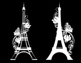 Fototapeta Fototapety z wieżą Eiffla - paris city eiffel tower with rose flowers and butterfly - white vector silhouette over black