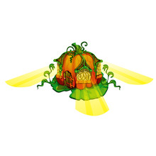 Fairy House In Form Of Ripe Pumpkin With Glowing Windows Isolated On White Background. Vector Close-up Cartoon Illustration.