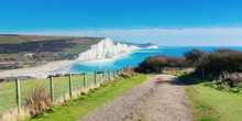 Walk To Cuckmere Haven Beach Near Seaford, East Sussex, England. South Downs National Park. View Of Blue Sea, Cliffs, Long Photo Banner Selective Focus