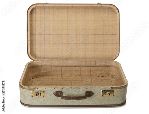 Canvastavla Opened shabby vintage suitcase isolated