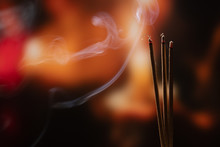 Burning Incense Sticks With Smoke, Joss Sticks Burning At A Vintage Buddhist Temple