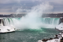 Niagara Falls CANADA - February 23, 2019: Winter Frozen Idyll At Horseshoe Falls, The Canadian Side Of Niagara Falls, View Showing As Well As The Upper Niagara River
