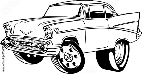Foto op Aluminium Cartoon cars 1957 Chevy Vector Illustration