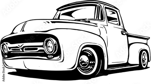 1956 Ford Pickup Vector Illustration Wallpaper Mural