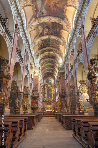 PRAGUE, CZECH REPUBLIC - OCTOBER 18, 2018: The neave of baroque church Bazilika Svatého Jakuba Většího (James the Greater).