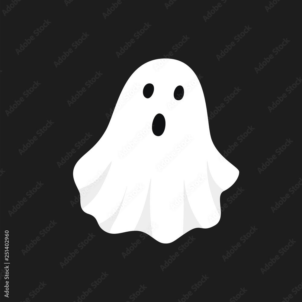 Fototapeta Vector illustration of white ghost. Halloween spooky monster, scary spirit or poltergeist flying in night.