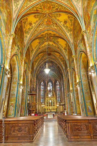 PRAGUE, CZECH REPUBLIC - OCTOBER 12, 2018: The nave of church Bazilika svatého Petra a Pavla na Vyšehrade.