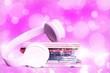 Leinwanddruck Bild - Headphones and compact discs  isolated   on background