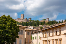 Assisi,the Town In Province Of Perugia, Italy,  Umbria Region.. Scenic View With The Rocca Maggiore, Medieval Fortress.