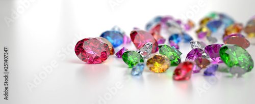 Pinturas sobre lienzo  Colorful Gemstones placed on white reflection background, 3d rendering