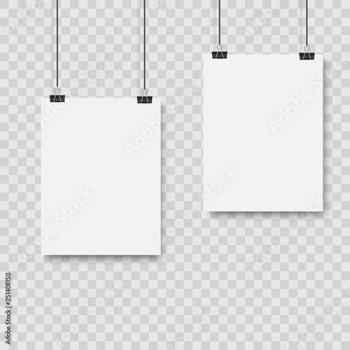 Cuadros en Lienzo  Realistic black vector blank frame hanging . Vector.