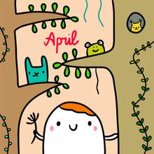 April Hand Drawn Illustration ...