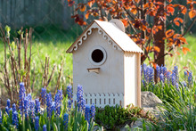 Decorative Wood Carved Birdhouse Among Spring Flowers