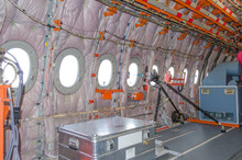 View On The Cabin Of The Aircraft Without Interior Trim, For Test Flights