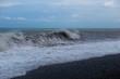 Stormy sea waves breaking near the coast