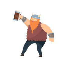 Funny Red-bearded Viking With Wooden Mug Of Beer In His Hand Over White Background