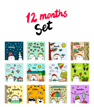 Twelve Months Set Hand Drawn Illustrations With Cute Marshmallow