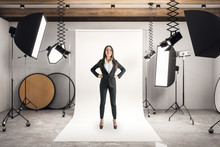 Businesswoman In Photo Studio