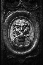 Old Brass Knocker In Black And...
