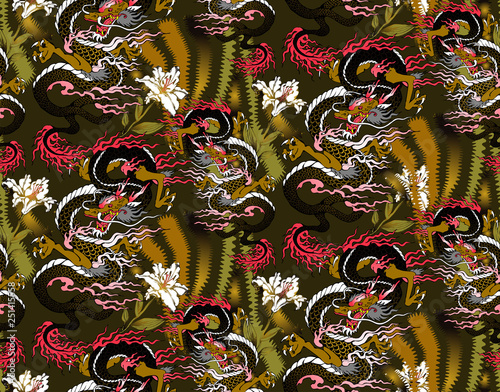 Spoed Foto op Canvas Graffiti Pattern of asian dragon and flowers. Vector illustration. Suitable for fabric, wrapping paper and the like