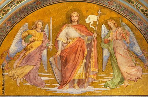 PRAGUE, CZECH REPUBLIC - OCTOBER 17, 2018: The fresco of king Saint Wenceslaus in church Svatého Cyrila Metodeje by František Sequens from end of 19. cent.