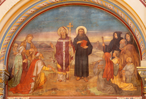 PRAGUE, CZECH REPUBLIC - OCTOBER 17, 2018: The fresco of Saint Cyril and Methodius in church Svatého Cyrila Metodeje by František Sequens from end of 19. cent.