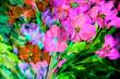 canvas print picture - texture oil painting flowers, painting vivid flowers, flora
