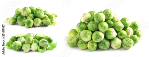 Door stickers Brussels Set of fresh Brussels sprouts on white background