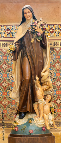 PRAGUE, CZECH REPUBLIC - OCTOBER 17, 2018: The carved statue of Saint Therese of the Child Jesus in church Svatého Cyrila Metodeje by Bretislav Kafka (1891 - 1967).