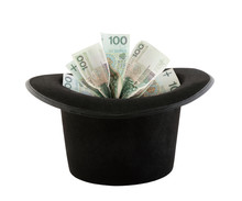 Polish Money Appearing From A Top Hat Isolated On White Background