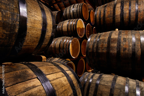 Photographie Rows of alcoholic drums in stock