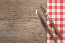 Vintage Cutlery On Wooden Table