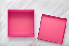 Flat Lay Of Empty Pink Gift Bo...