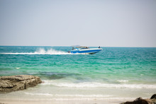 Speedboat In Action On A Tropical Island
