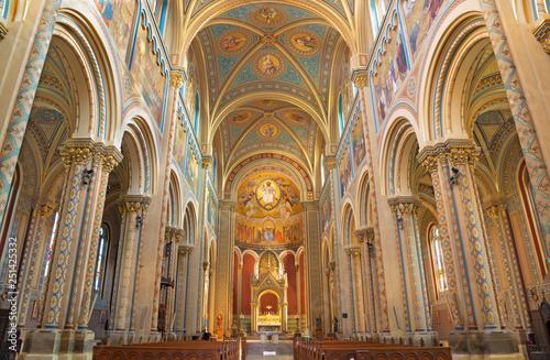 PRAGUE, CZECH REPUBLIC - OCTOBER 17, 2018: The nave of church kostel Svatého Cyrila a Metodeje.