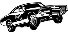 Stunt Car Vector Illustration