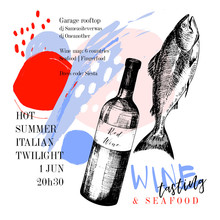 Wine Tasting And Seafood Party Poster. Vector Hand Drawn Fish With Red Wine Bottle. Italian Sea Fingerfood Banner. Modern Abstract Background. Vintage Restaurant Menu, Invitation, Flyer Design.