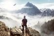 Leinwandbild Motiv Bergsteiger genießt die Aussicht auf die Alpen vor malerische Landschaft