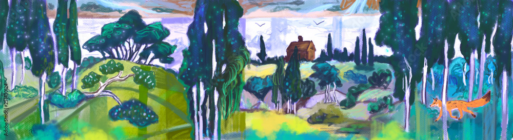 illustration background with theatrical curtain forest with fox background.