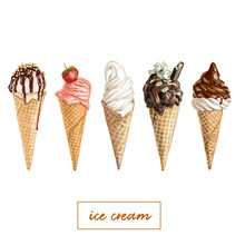 Hand Drawn Vector Ice Cream Set