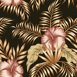 Tropical botanical composition hibiscus gold palm leaves black background - 251431194