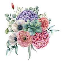 Watercolor Succulent And Hydrangea Bouquet. Hand Painted Pink And Violet Flowers, Cacti, Anemone And Ranunculus With Eucalyptus Leaves Isolated On White Background For Design, Print.