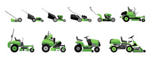 Various Types Of Lawn Mowers Isolated On White Background. Mowed Grass. Gardening Grass-cutter. Flat Vector Illustration.